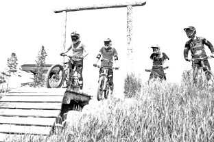 Four scouts, trestle downhill