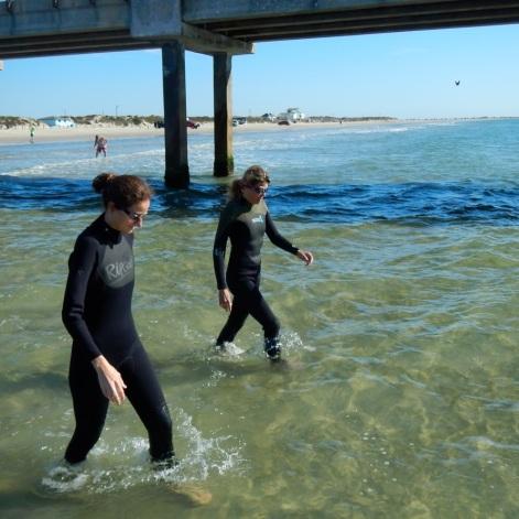 strolling to sandbars at low tide
